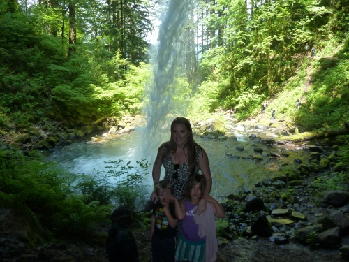 "Kids & I behind Ponytail ""Upper Horsetail"" Falls"